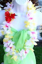 TWO Hawaiian Silk Flower Lei Luau Party Hula Necklace ~ YELLOW WHITE QTY 2 LEIS