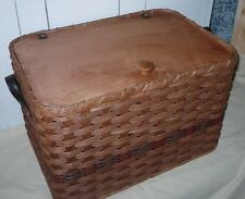 Handcrafted Small Toy Chest Basket with Attached Lid and Leather Handles