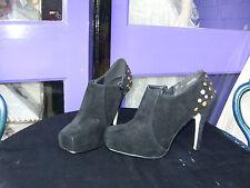 NOIR suédine bottes chaussures avec clou doré détaillé taille 6