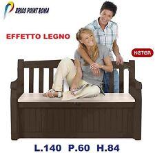 Panchina panca cassapanca baule seduta portaoggetti effetto legno esterno Keter