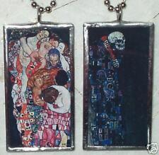 KLIMT DEATH AND LIFE GLASS-ART PENDANT/NECKLACE