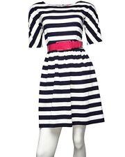 Betsey Johnson Women's Navy Striped Belted Ponte Knit Dress Sz. 10 NWT