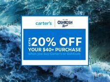CARTER'S / OSHKOSH  15% off $20 / 20% off $40 coupon code (Exp 12/31/2020)