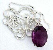 18x13 Oval Fluorite Gemstone Gem Stone Sterling Pendant 18 Inch Chain Necklace