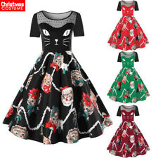 Women Christmas Lace Dress Skater Swing Retro Xmas Holiday Gift Plus Size Outfit