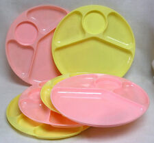 Vintage Gothamware Set of Six Pink and Yellow Divided Plastic Snack Plates 1960s