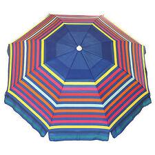 Nautica Beach Umbrella 7' Blue/Multi-collored Stripe NEW FREE SHIPPING OFFER