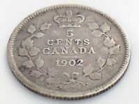 1902 Canada Five 5 Cent Small Silver Circulated Canadian Edward VII Coin J563
