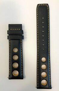 Original Tissot PRS516 20mm J564/664 Black / Yellow Leather Watch Band Strap