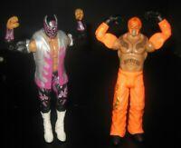 (2) WWE WWF WCW Rey Mysterio Wrestling Wrestler Figure Lot Toy Mattel 2011