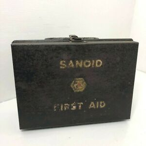 Sanoid First Aid Metal Storage Box Cabinet Vintage full contents
