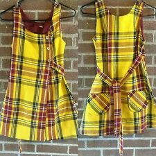 1960s VTG Country Set Plaid Wool Jumper Mini Dress Vintage Womens Yellow Red