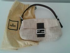 Authentic Fendi Baguette Bag Purse Cream Logo Linen w Deep Brown Handle