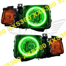 ORACLE Halo 2x HEADLIGHTS Hummer H3 06-10 GREEN LED Angel Demon Eyes