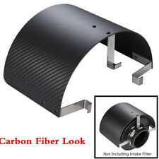 Carbon Fiber Look Stainless Steel Heat Shield Air Intake Filter Cover For 2.5-5""