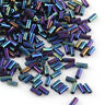 """50g 2"""" Iris Round Blue Plated Tube Glass Bugle Seed Micro Beads Lined 4~4.5x2mm"""