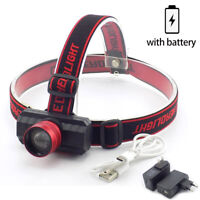 Q5LED Headlamp USB Rechargeable Headlight Zoomable Head Torch Camping Flashlight