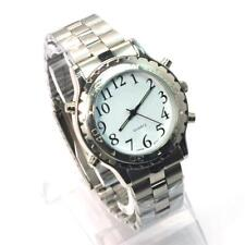 English Talking Watch Voice wristwatch Silver for Blind Person & Elderly L8