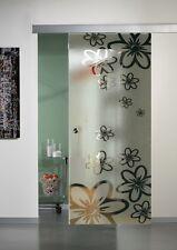 Porte Vetro sabbiato disegno con margherite con binario misura 85 x 230 AFFARE