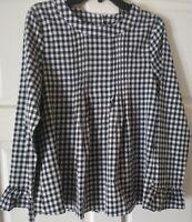Black & White Checker Women's Long Bell Sleeve Top Button Down Back Size M