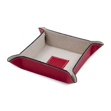 Bey Berk RED Leather Snap Valet with Pig Skin Tray Leather Lining