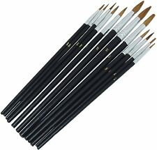 12 x POINTED ARTIST BRUSH SET Small/Large Art Paint Brushes Thin/Thick Detailed