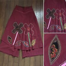Plazzo Trousers Wrap Overlay Skirt Indian  Embroidered Floral 8 S Appliqué Boho