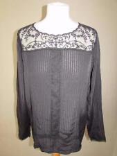 NEXT Ladies Black Semi Sheer Top Blouse Button Down Back Lace Trim Size 12 VGC
