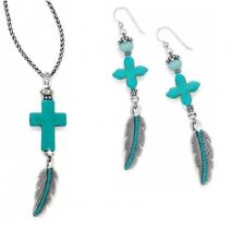 NWT Brighton LORETTO Turquoise Cross Feather Necklace Earrings Set MSRP $100