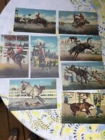 "8 Pc Set Antique 1945 Giant Linen Rodeo Cowboy Postcards 11x7"" Excellent Cond"