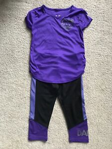 Justice Girls Size 5 Short Sleeve And Capri Outfit Dance Purple Athletic