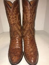 Lucchese Full Quill Ostrich Brown Pull On Cowboy Boots Womens 11.5 B Beautiful