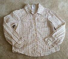 Gymboree - Girls' Kids Button Down Long Sleeve Floral Beige Shirt - Size 6