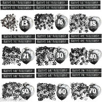 Black 13th-100th Birthday Banner Party Decorations Pack Kit Set Glitz Unisex