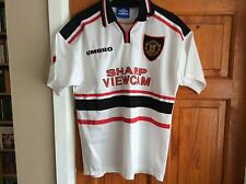 MANCHESTER UNITED WHITE AWAY SHIRT TREBLE SEASON 98/99 SIZE M