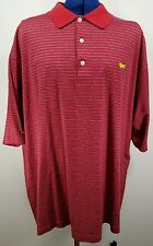 AUGUSTA NATIONAL GOLF SHOP Polo Shirt  MASTERS Embroidered Red Striped Men XL