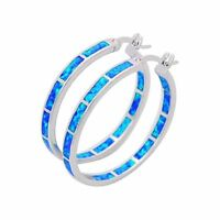 Round Blue Fire Opal Earrings Silver Filled For Women