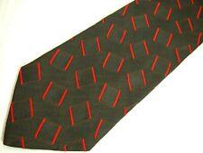 "Escada Mens Necktie Tie Red Brown Geometric 100% Silk 62"" Long"