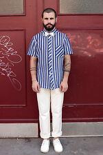 Herren Hemd weiß white blau Streifen stripes shirt 70er True VINTAGE 70´s Nylon