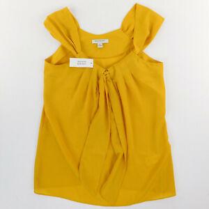Banana Republic Sleeveless Top XS Yellow Front Tie  Polyester New