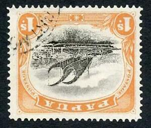 Papua SG58 1/- wmk INVERTED Perf 12.5 (light bend) Cat 100++ pounds
