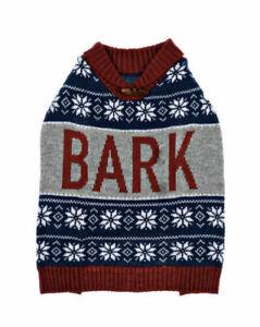 CUTE Knit Nordic 'BARK' Dog Sweater (Size Medium) BRAND NEW W TAGS