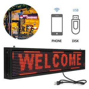 """Red Display Hanging Board 40"""" x 8"""" Indoor LED Business Sign Scrolling Message"""
