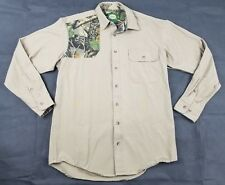 Mens MED Tall CABELAS Shirt MT Khaki Camo Camouflage Seclusion 3D Hunting Fish