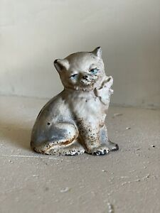 Antique Vintage Hubley Cast Iron Cream Kitty Cat Figurine Pink Bow Paperweight