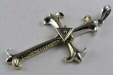 Maçonnique Franc Maçon de Templiers Croix Lis Pendentif Plaqué or Argent 925/