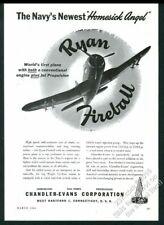 1946 Ryan Fireball plane photo Chandler-Evans CECO aircraft parts print ad
