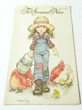 Vintage Greeting Card Sarah Kay Cute Old Fashioned Girl Feeding Chickens