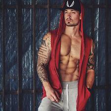 EUA Hombre Camiseta Sin Mangas Verano Algodón Informal a la Moda Blusa Capucha
