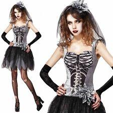 Señoras para mujer Esqueleto Novia Disfraz De Halloween Terror Fantasía Vestido Nuevo